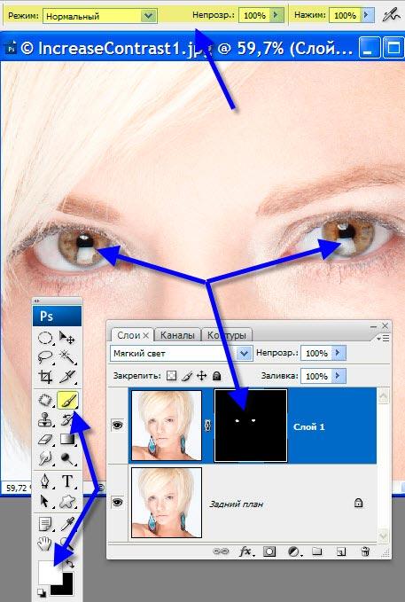Как сделать в фотошопе выразительные глаза