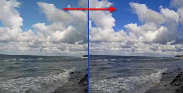 Коррекция в фотошопе неба