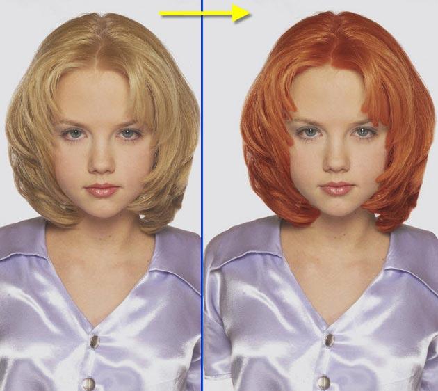 Фотошоп волос замена цвета онлайн