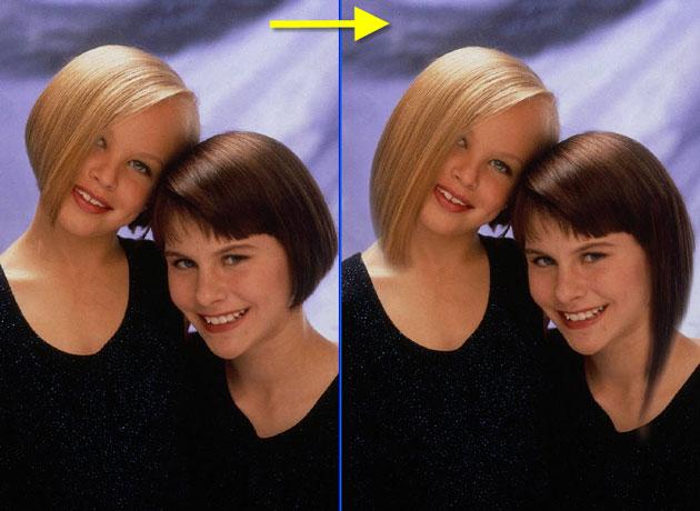 Обводим волосы девушки справа.  Изображение двух девушек.